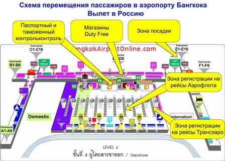 Схема аэропорта Бангкока. Зона